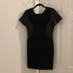 Zara black dress with faux leather details